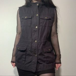Black Vest Sleeveless Jacket Style Button Up
